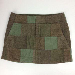 American Eagle Wool Blend Patchwork Mini Skirt 6